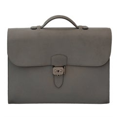 Hermes Light Grey Kidskin 35 cm Sac a Depeche- SHW-2001