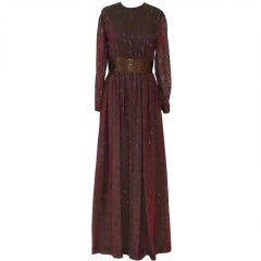 Chanel Vintage Burgundy and Gold Iridescent Silk Chiffon Gown, 1970s