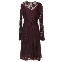 Vintage Circa 60's Purple Lace Cocktail Dress