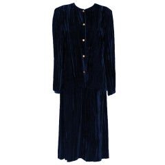 Vintage Chanel Navy Crushed Velvet Suit - Circa 80's - 42