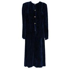 Vintage Chanel Navy Crushed Velvet Suit - Circa 80's - 42