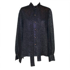 "Chanel Vintage Navy & Gold Lame Blouse with ""CC"" Print - 40 - Circa 70's"