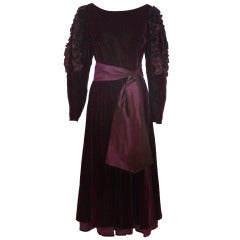 Louis Feraud Vintage Circa 80's Velvet Dress