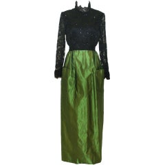 Vintage Roger Freres Black Lace and Green Silk Taffeta Gown
