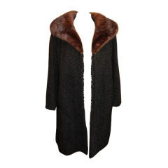 Vintage Black Persian Lamb coat with mink fur collar - Circa 60'