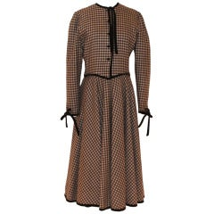 Valentino Late 70's Brown/Ivory Wool Dress