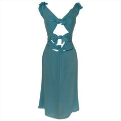 Valentino Aqua Silk Dress with Cutouts - 6