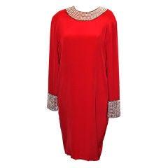 Henri Bendel Red Silk Shift Dress w/ Crystal Beading