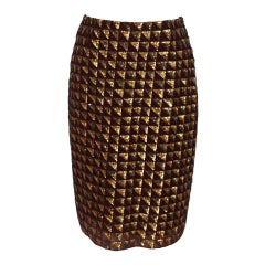Badgley Mischka Garnet and Gold Sequin Silk Skirt - 6