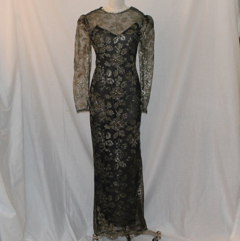 Vintage Oscar De la renta Black & Gold Lace Sequin Gown - Circa 90's. Gown is a size 8. Measurements are as follows: