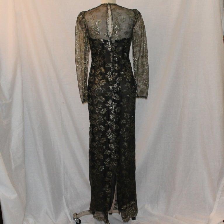 Vintage Oscar De la renta Black & Gold Lace Gown - Circa 90's 4