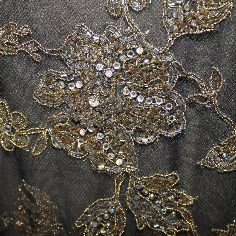 Vintage Oscar De la renta Black & Gold Lace Gown - Circa 90's 5