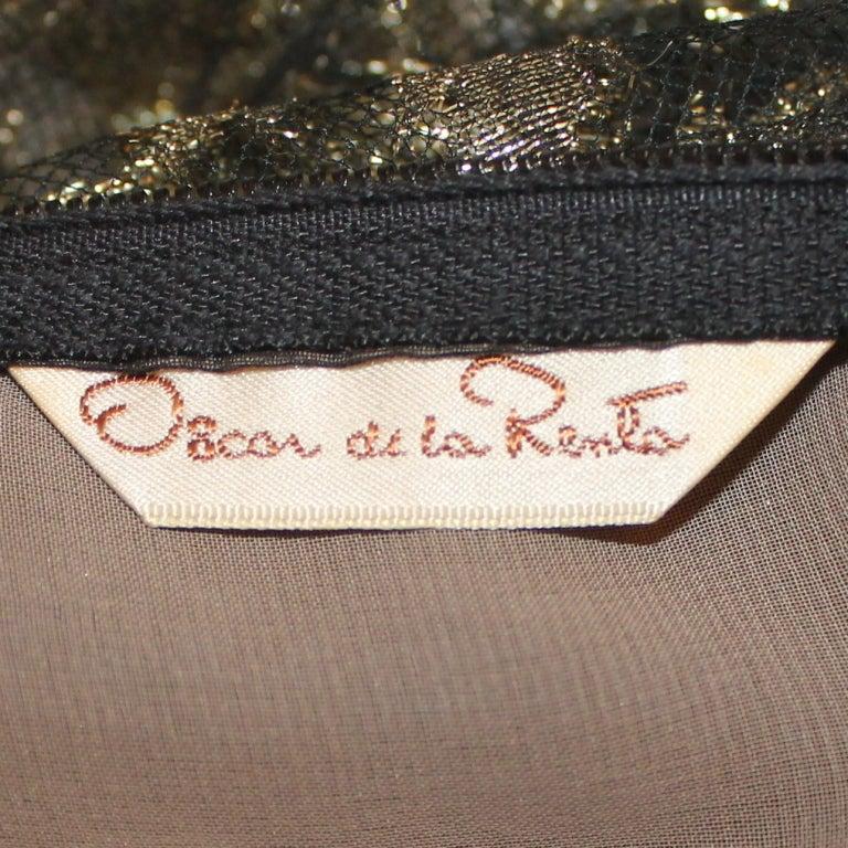 Vintage Oscar De la renta Black & Gold Lace Gown - Circa 90's 6