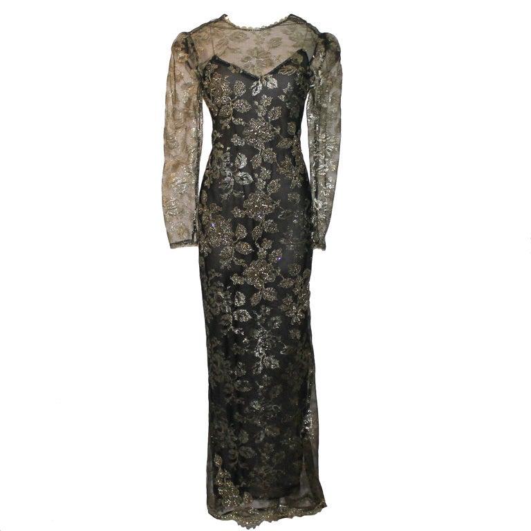 Vintage Oscar De la renta Black & Gold Lace Gown - Circa 90's 1