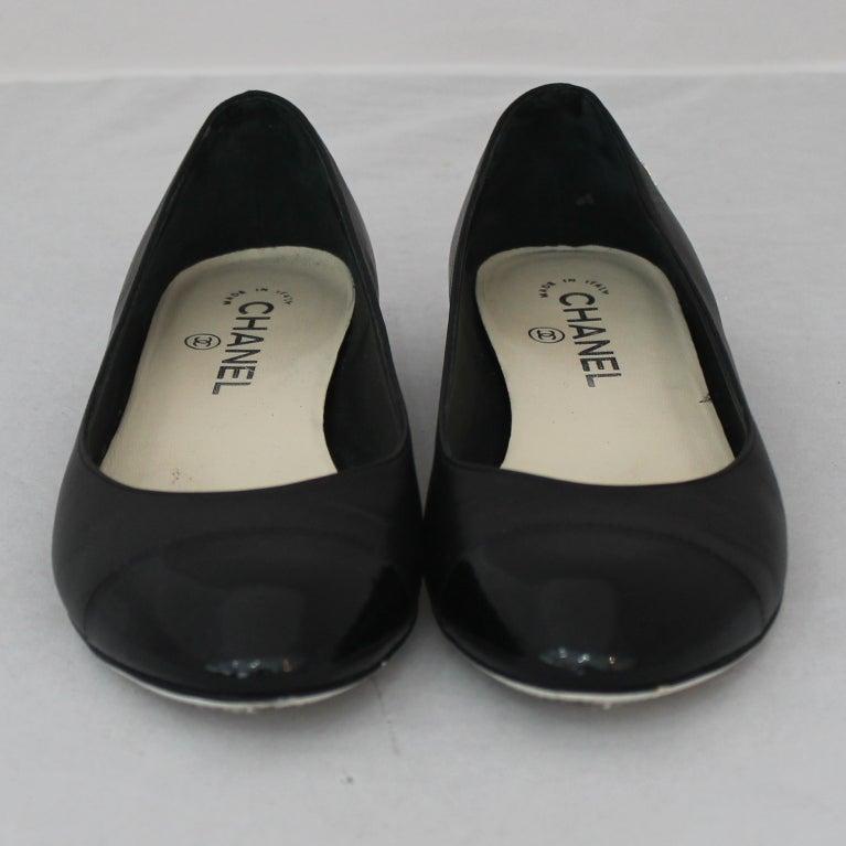 chanel black ballet flat shoes at 1stdibs
