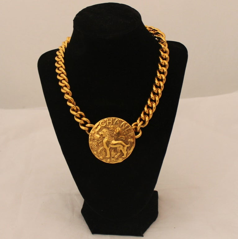 Vintage Chanel Single Gold Medallion Necklace - Circa 1986 2