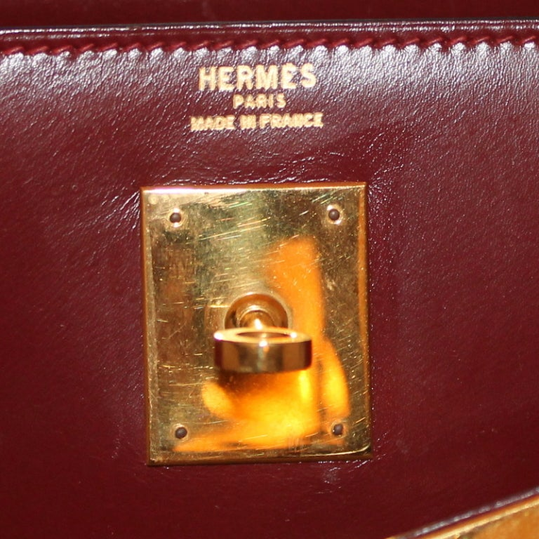 Vintage Hermes Rouge Box Calf 32 cm Kelly Handbag at 1stdibs