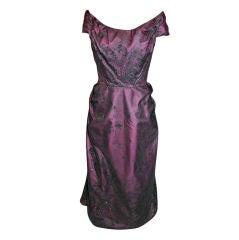 Vintage Murray Arbeid Eggplant Metallic Brocade Tulle Gown