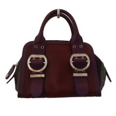 Emilio Pucci Burgundy Leather with Tweed and SHW