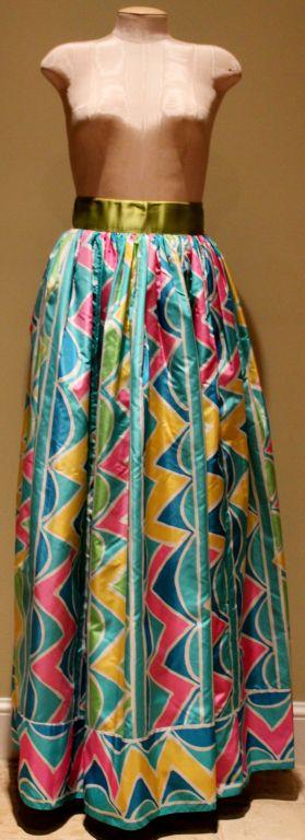 "Vintage Oscar De La Renta Multi Color Silk Taffeta Maxi Skirt. size 4. Circa 70's This amazing piece is in excellent vintage condition. Measurements are as follows:  Waist: 25"" Length: 43"""