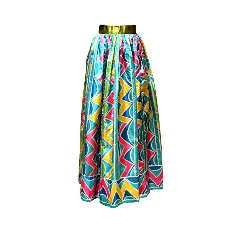 Oscar De La Renta Vintage Multi Color Taffeta Maxi Skirt, Circa 1970s