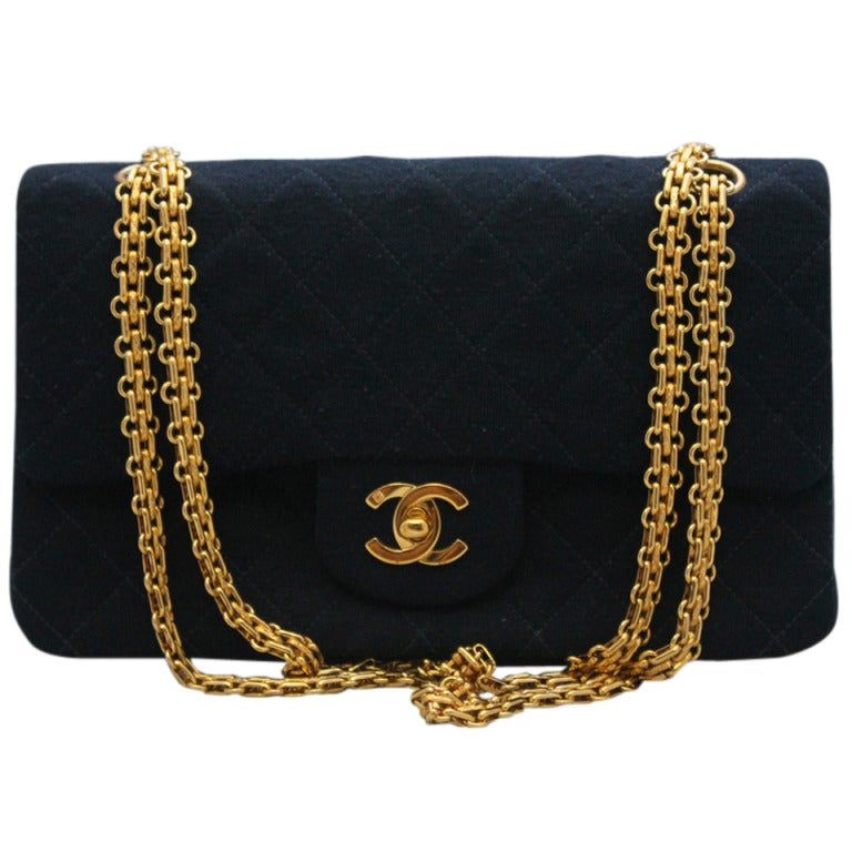 Chanel Navy quilted Fabric Med/Large Classic Double Flap - GHW - Circa 1994 1