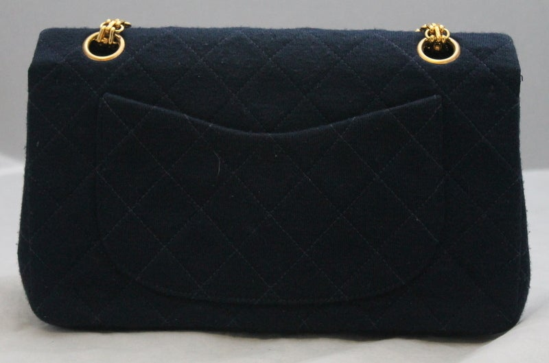 Chanel Navy quilted Fabric Med/Large Classic Double Flap - GHW - Circa 1994 3