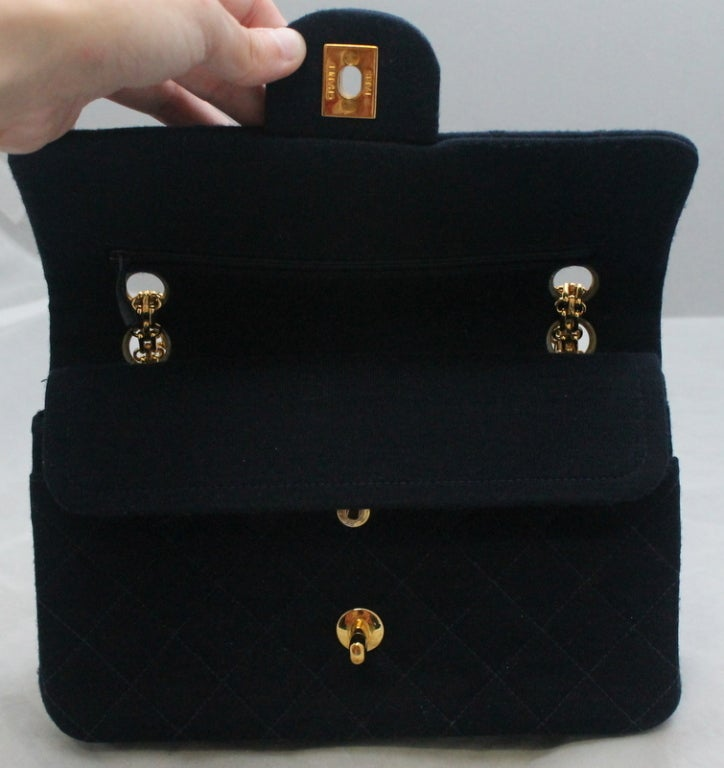 Chanel Navy quilted Fabric Med/Large Classic Double Flap - GHW - Circa 1994 4