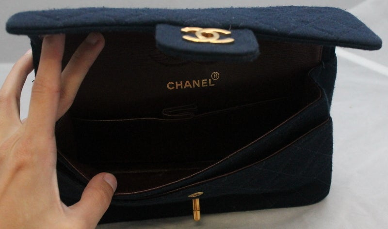 Chanel Navy quilted Fabric Med/Large Classic Double Flap - GHW - Circa 1994 5