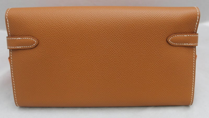 408c4a38ac45 Hermes Gold Epsom Kelly Wallet - PHW - 2009   NEW