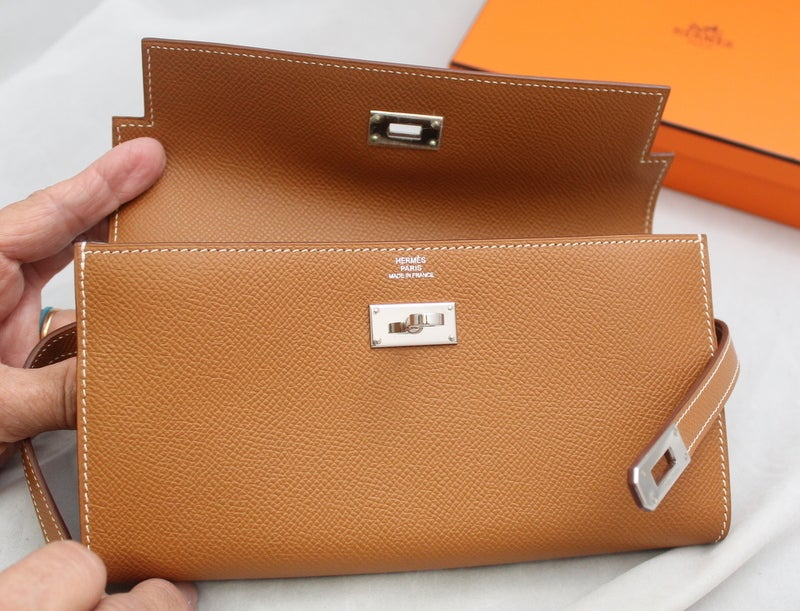 Hermes Gold Epsom Kelly Wallet - PHW - 2009 **NEW, NEVER CARRIED ...