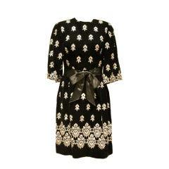 Vintage Sarmi Black Embroidered Velvet Dress - Sz 4  Circa 50's
