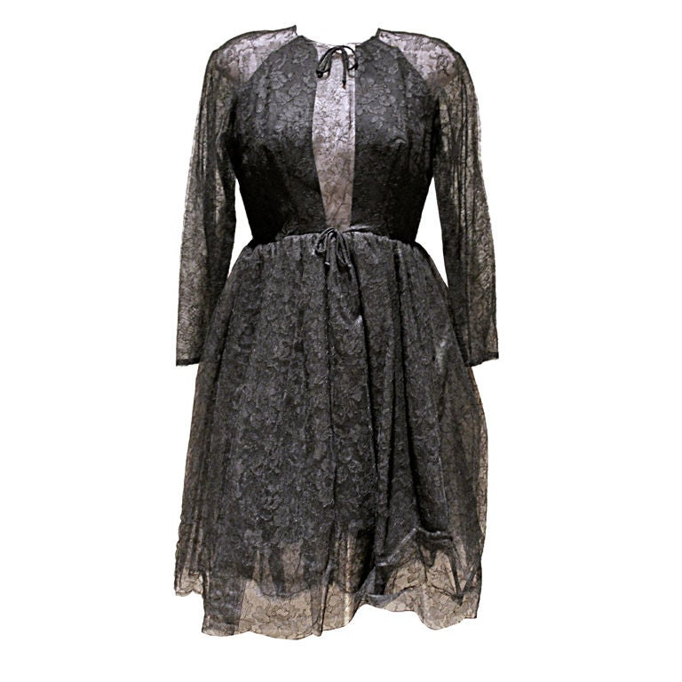 Vintage Sarmi Black Lace Cocktail Dress-Sz 6 Circa 50's