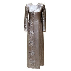 Vintage Tracey Mills Silver Sequin & Beaded Gown-Sz S-Circa 80's
