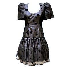 Ruben Panis Black Silk Organza Dress with Velvet polka dots-Sz 6