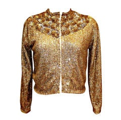 Vintage Saks Fifth Avenue Gold Sequin Cashmere Cardigan-Sz 6