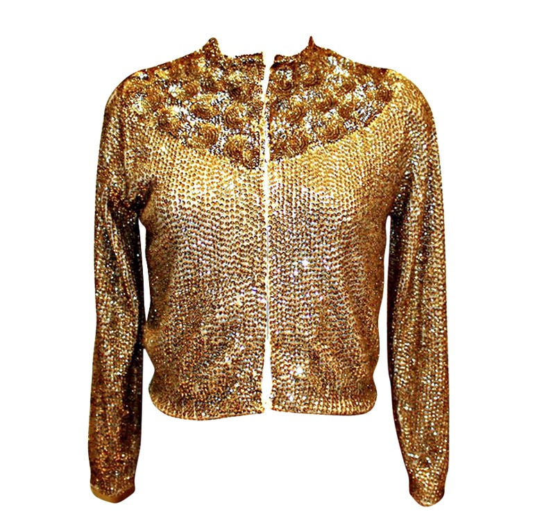 Vintage Saks Fifth Avenue Gold Sequin Cashmere Cardigan-Sz 6 For ...