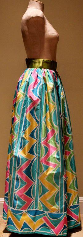 Blue Vintage Oscar De La Renta Multi Color Taffeta Maxi Skirt-Sz 4 - Circa 70's For Sale