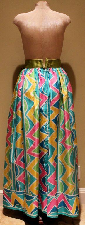 Vintage Oscar De La Renta Multi Color Taffeta Maxi Skirt-Sz 4 - Circa 70's In Excellent Condition For Sale In Palm Beach, FL