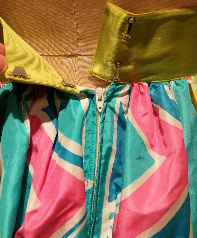 Vintage Oscar De La Renta Multi Color Taffeta Maxi Skirt-Sz 4 - Circa 70's For Sale 1