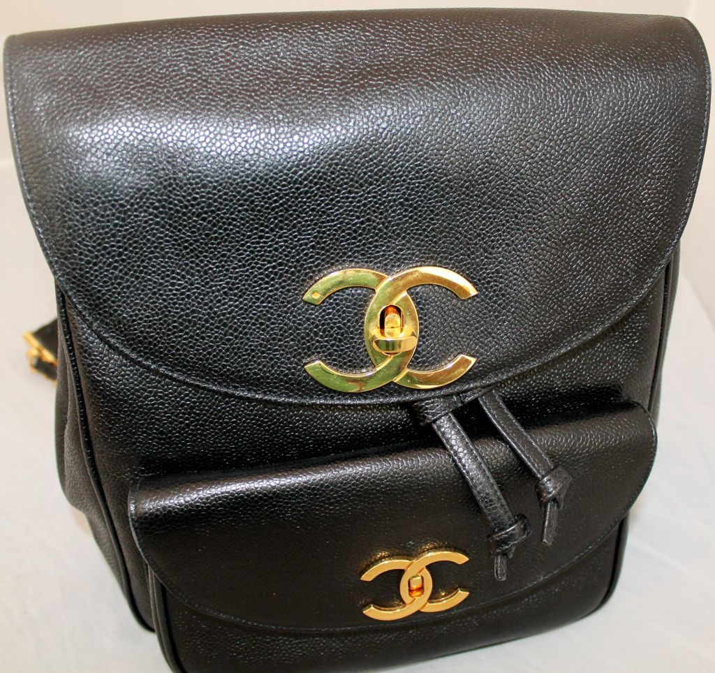 Vintage Chanel Black Caviar Leather Backpack. Comes with Duster. ec27145fc9dab