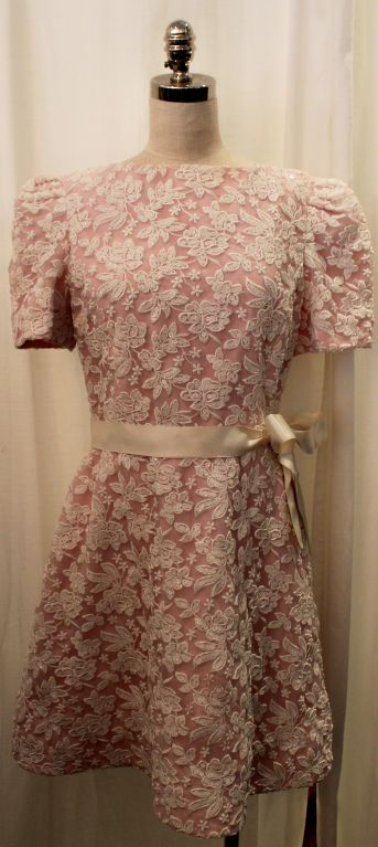 Vintage Scaasi Pink & White embroidered silk organza dress-8 image 2