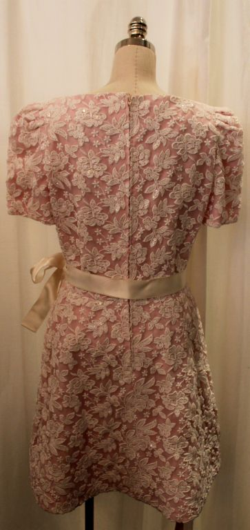 Vintage Scaasi Pink & White embroidered silk organza dress-8 image 4