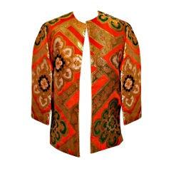 Vintage Orange & Gold Silk Brocade Asian Jacket-Sz S-Circa 70's