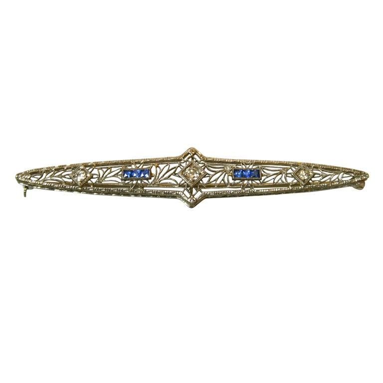Art Deco Diamond, Sapphire, and 14 Karat White Gold Bar Pin, Brooch