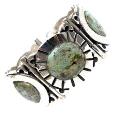 Mexican Oval Turquoise Sterling Silver Bracelet