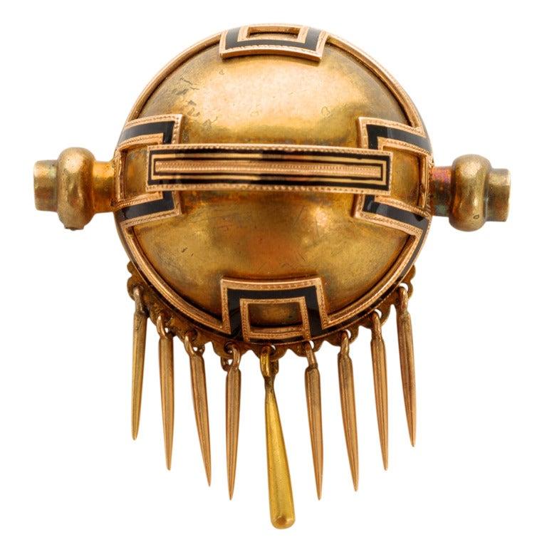 Black Enamel and 14 Karat Gold Victorian Planet Pin