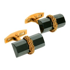 Tiffany & Co. Hematite and 18 Karat Gold Baton Cufflinks