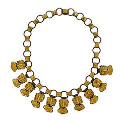 Chinese Linked Enamel Bumble Bee and Lotus Linked Necklace