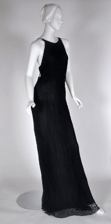 Vintage Gianni Versace Couture Black Lace Gown with Crystals 46 - 10 2